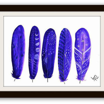 Purple feathers, printable, watercolor painting, feather, boho art, wall  print, nursery deco, home decal, download , tribal ,gypsy, poster