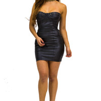 Black Strapless Faux Leather Dress with Studded Detailing
