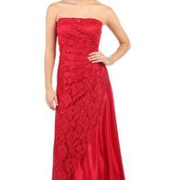 strapless red glitter lace long prom dress - debshops.com