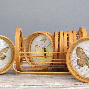 vintage bamboo coaster set butterfly and leaf by KatyBitsandPieces
