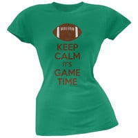 Keep Calm Game Time Football Kelly Green Juniors Soft T-Shirt