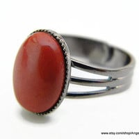 Red Jasper Ring Natural 14x10mm Stone and Gunmetal Plated Adjustable Ring