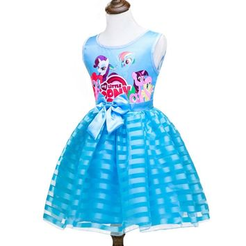 New Summer My Girls Clothes Little Pony Dresses Kids Bow Princess Dress Baby Girls Wedding Party Costume Children Tutu Clothes
