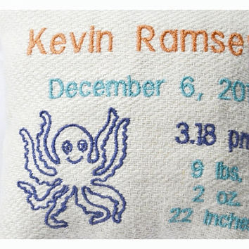 Personalised birth Announcement Pillow, New Baby Pillow , New born Pillow Custom embroidery , octopus Baby Pillow