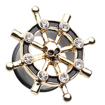 Golden Colored Pirate Ship Anchor Wheel Ear Gauge Plug