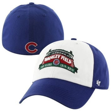 47 Brand Chicago Cubs Wrigley Field 100 Years Franchise Freshman Marquee Fitted Hat - Royal Blue/White