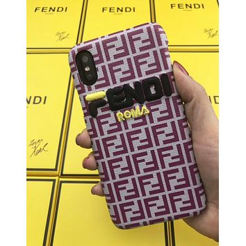 FENDI Fashionable Women Men Embroidery Leather Mobile Phone Cover Case For iphone 6 6s 6plus 6s-plus 7 7plus 8 8plus X XSMax XR Red