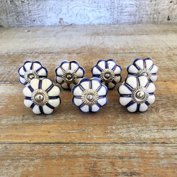 Drawer Knobs 7 Ceramic Drawer Pulls Mid Century Hardware Dresser Drawer Pulls Cabinet Door Knobs Blue and White Knobs Unique Drawer Knobs