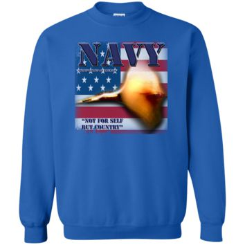 UNITED STATES NAVY : NOT FOR SELF BUT COUNTRY : G180 Gildan Crewneck Pullover Sweatshirt  8 oz.