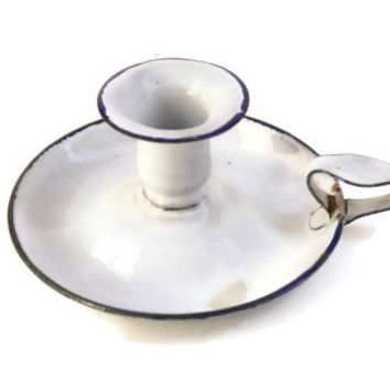French Enamelware Candle Holder. Metal Candlestick.