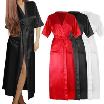 Hot womens SILK Stain Kimono Dressing Gown Bath Robe Babydoll Nightdres G-string