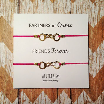 Partners in Crime Handcuff Friendship Bracelet Set | BFF, Best Friend Gift Jewelry