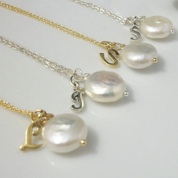 Bridesmaids Necklace Gift- Freshwater Coin Pearl Necklace- Initial Necklace
