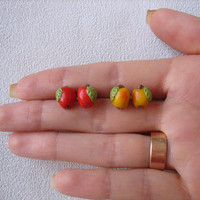 Tiny studs earrings polymer clay jewelry red yellow green apples tiny jewelry earrings small studs apple handmade gift for her polymer clay