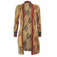 Gucci Newest Fashionable Women Personality Red Green Stripe Long Sleeve Cardigan Jacket Coat