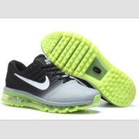 """NIKE"" Trending Fashion Casual Sports Shoes Air Max section Black Silver yellow soles"