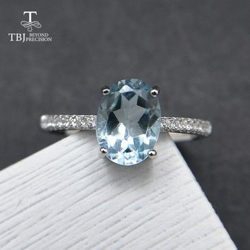 TBJ,Simple and Classic ring with 1.2ct natural Sky blue topaz ov6*8mm in 925 sterling silver gemstone ring for women as a gift
