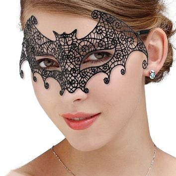 M MISM 1PC Sexy Black Lace Face Mask For Masquerade Party Fashion Queen Female Hollow Mask Goggles Nightclub Headband