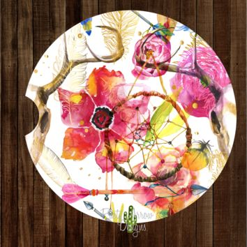 Floral Dream Catcher with Horns Sandstone Car Coaster
