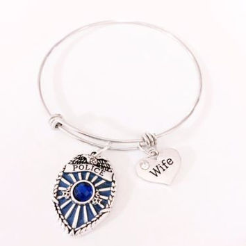 Adjustable Bangle Charm Bracelet Police Wife LEO Blue Officer Badge Gift