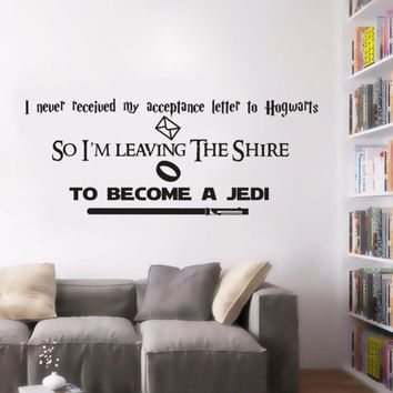 Harry Potter Wall Sticker Lord Of The Rings Wall Decal Star Wars Quote Wall Poster Hot Movies Home Decoration Vinyl Art AY1553