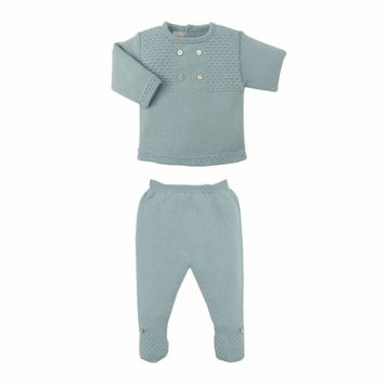 Paz Baby Boy's Water Green Knit Set