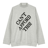 Gray High Neck Letter Print Sweatshirt