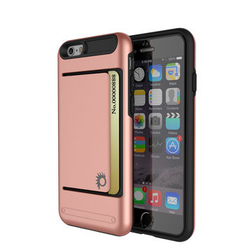 iPhone 6/6s Plus Case PunkCase CLUTCH Rose Gold Series Slim Armor Soft Cover Case w/ Tempered Glass