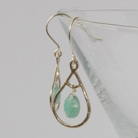 Mint green amazonite and silver earrings