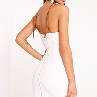 Missguided - Peace + Love Belted Strap Cami Dress White