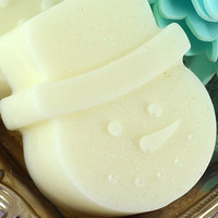 Winter Soap - Frosted Snowdrop - Snowman - Goats Milk Shea Butter Base - Christmas Stocking Stuffer - Great for Adults and Kids