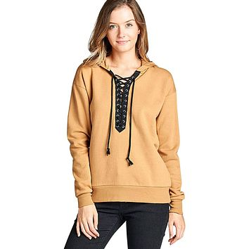 French terry lace up detail hoodie