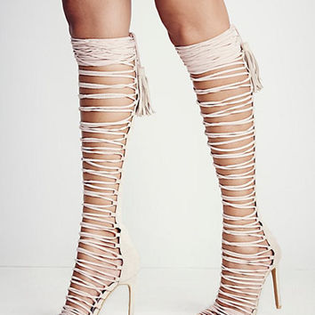 Sexy Suede Knee High Gladiator High Heel Sandals 3 Colors sizes 4 to 12