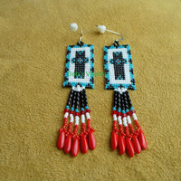 Native American Style Square stitched South Western Cross Earrings in Turquoise blue,white,black and red