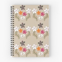 'Hot Pink And Orange Floral Heart' Spiral Notebook by Carmen Ray Anderson