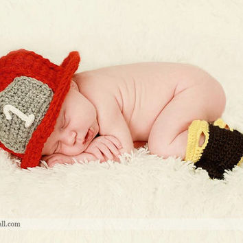 Crochet Baby Hat and Booties Baby Firefighter by TheBabyCrow
