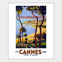 Cannes Summer French Travel Poster Print