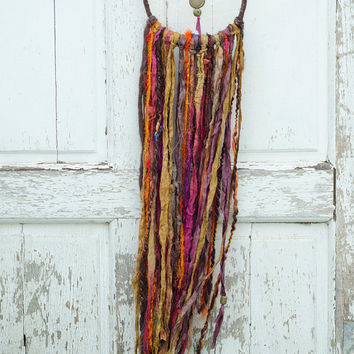 Bohemian Gypsy Dreamcatcher, Earth Tones, Hippie Decor, Boho, Ethnic Inspired, Brown, Pink, Mustard, Wall Hanging, Native American Wall Art