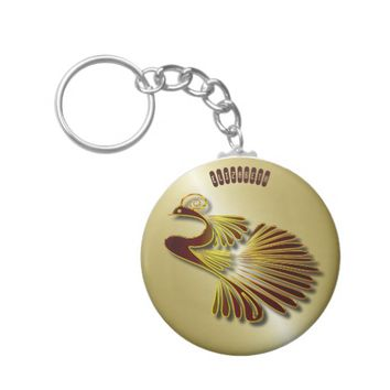 Golden Chocolate Jewel Peacock With Gold Shadows Keychain