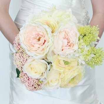 "Blush and White Silk Wedding Bouquet - 17"" Tall"