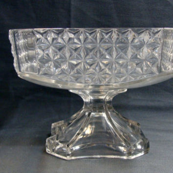 George Duncan & Sons Glass Compote Heavy Paneled Finecut