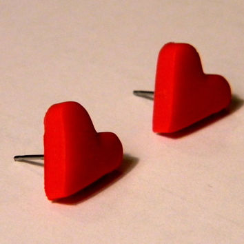 Red Valentine's Day Heart Earrings - Polymer Clay Jewelry - Surgical Steel Post Earrings - Handmade - Any Color - Gifts Under 10, 15, 20, 2