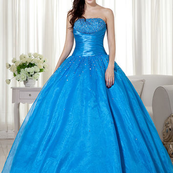 Simple Ball Gown Blue Organza Girls Prom Gowns Strapless Beaded Floor Length Lace Up Back Princess Senior Prom Dresses qd6453
