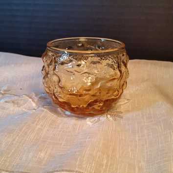 Crinkle Glass Anchor Hocking Lido Pattern small drinking glass Honey Gold Drinking glass