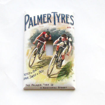 Light Switch Cover - Light Switch Plate Palmer Tyres Vintage Bicycle Poster