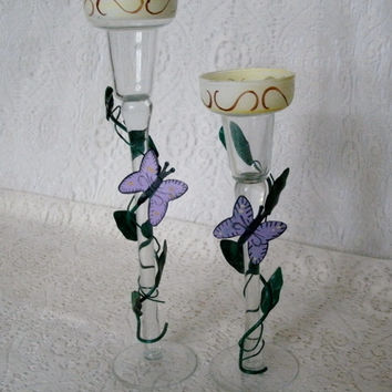 Butterfly Glass Candle Holders, home decor victorian steampunk cottage chic art deco art nouveau garden centerpiece wedding altar gypsy
