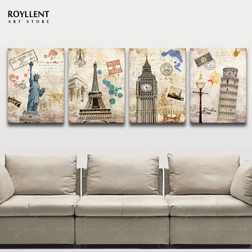 Classical Country Statue of Liberty Big Ben Leaning Tower Eiffel Tower Painting Canvas Print Wall Pictures 4pcs(Unframed)RA0128
