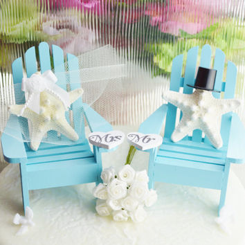 Wedding Cake Topper ~ Light Blue ~ Miniature Adirondack Chairs ~ Knobby Starfish Bride and Groom ~ Wedding Decor ~ Mr and Mrs Hearts