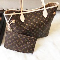 LV Louis Vuitton Classic Women Leather Handbag Tote Shoulder Bag And Wallet Two Piece A Set