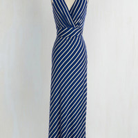 Nautical Long Sleeveless Maxi Adore County Dress in Navy Stripes